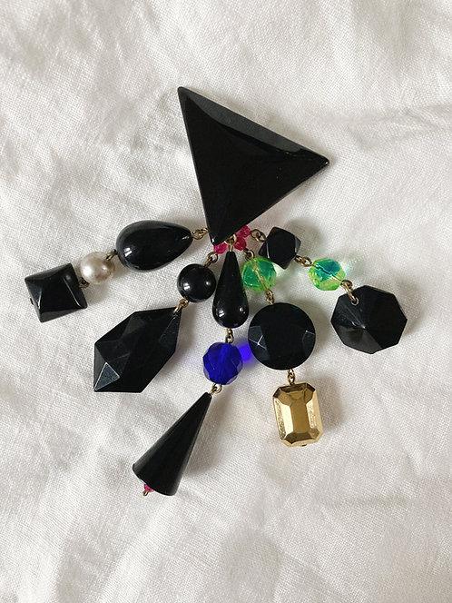 Black triangle pendant earrings
