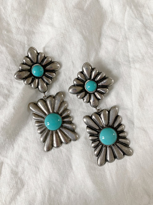 Turquoise and metal pendant earrings