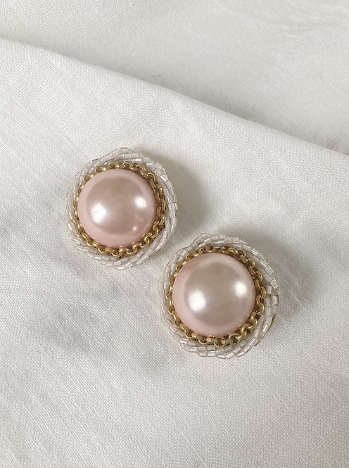 White and pink big pearl earrings