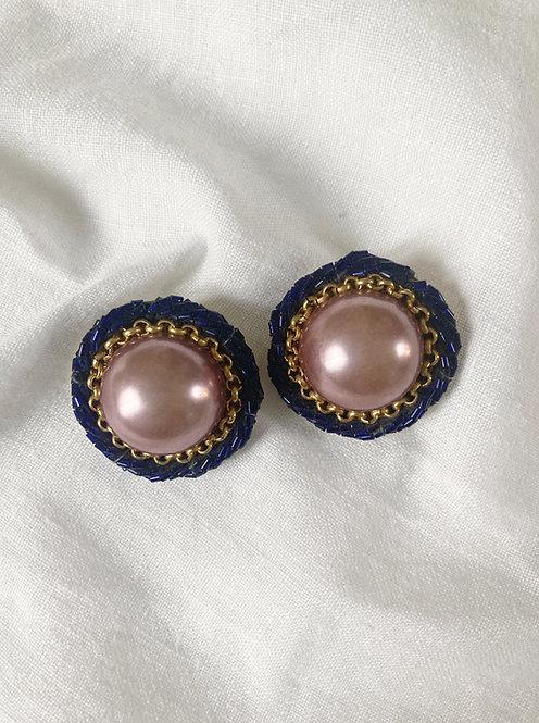 Blue and pink big pearl earrings