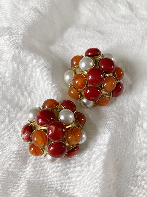 Red pearls earrings