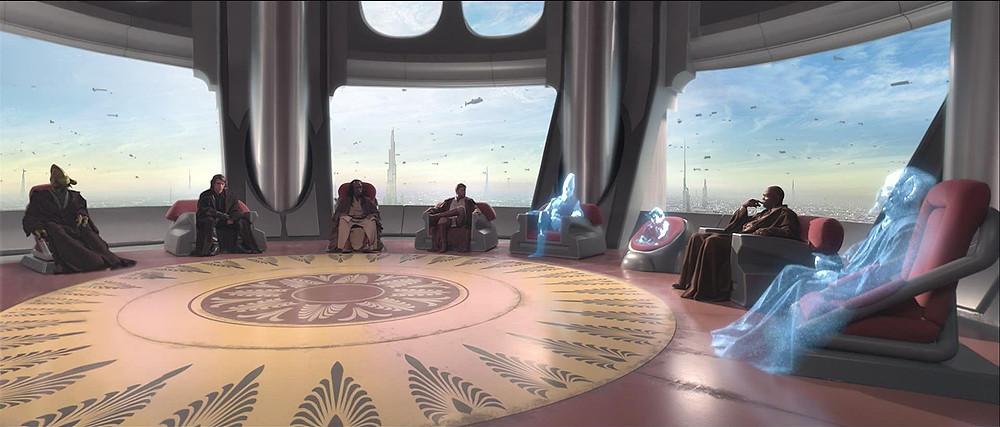 o Conselho Jedi reunido no Templo