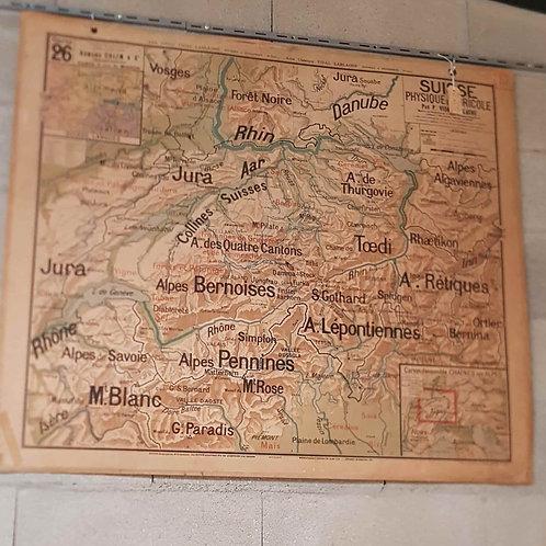 Carte de la Suisse recto-verso avant année 1920