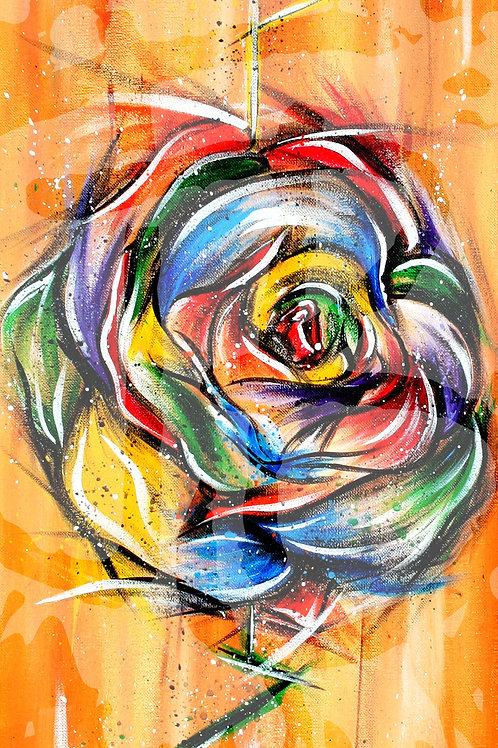 """A Rainbow Rose"" Print"