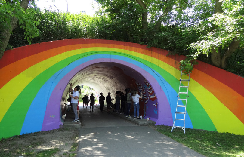 Restoration of Rainbow Tunnel as part of Mural Routes team (Toronto, Canada) 2018