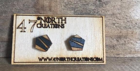 Wooden Pentagon Stud Earrings (Layered)