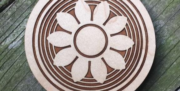 Wooden Mandala Coaster (Trance)