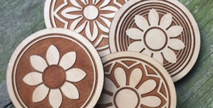 Wooden Mandala Coasters (Set of 4)