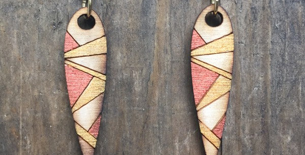 Small Abstract Wooden Blade Earrings