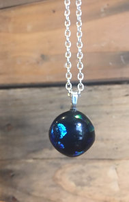 Glass Fused Necklace (Silver Chained)
