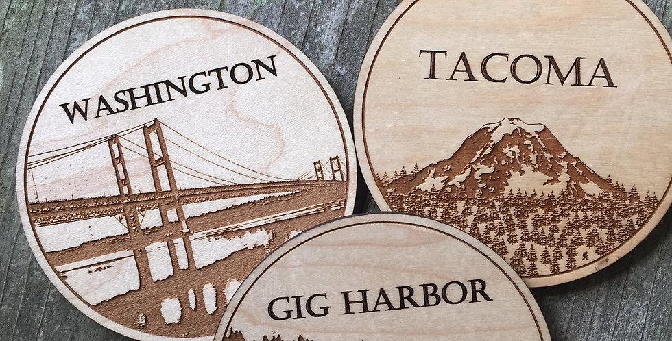 Wooden PNW Coasters (Set of 4)
