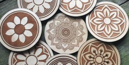 Wooden Mandala Coasters (Set of 8)