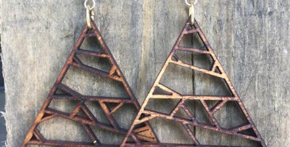 Geometrical Triangle Wooden Earrings
