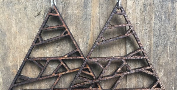 Abstract Wooden Triangle Earrings
