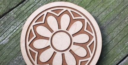 Wooden Mandala Coaster (Lily Pad)