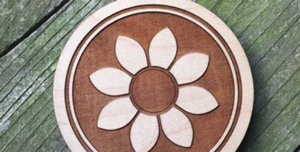 Wooden Mandala Coaster (Sunshine)