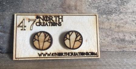 Wooden Tree Branch Stud Earrings
