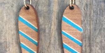 Striped Long Wooden Blade Earrings
