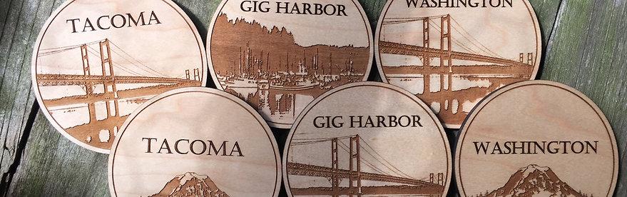 Wooden PNW Coasters (Set of 8)