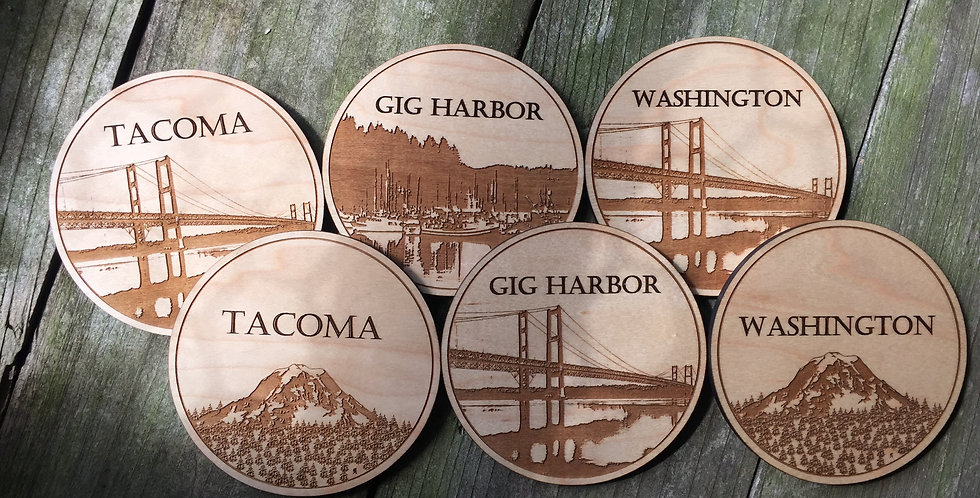 Wooden PNW Coasters (Set of 8)
