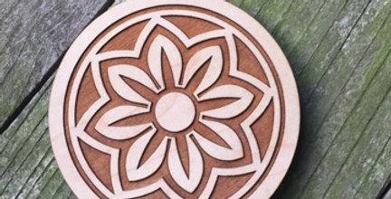 Wooden Mandala Coaster (Sky Flower)