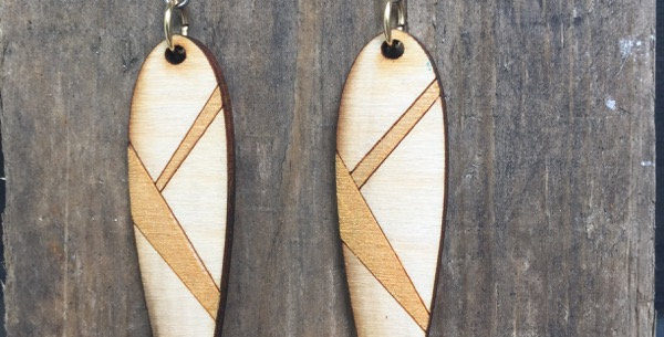Hand-painted Wooden Blade Earrings