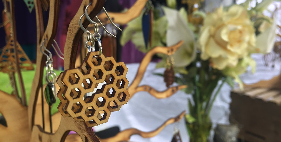 Honey-Comb Wooden Earrings