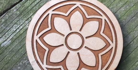 Wooden Mandala Coaster (Flower)