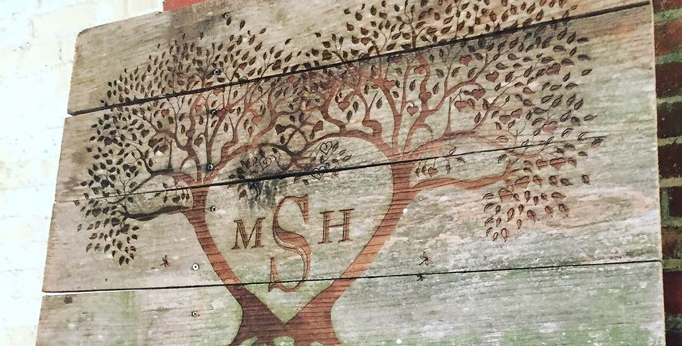 Wooden Heart Tree Sign w/ custom Initials