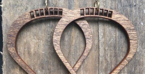 Wooden See-Through Teardrop Earrings