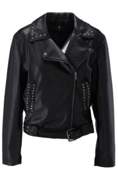 K-design T410 Biker jasje met studs in black
