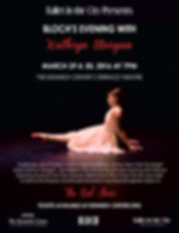Poster for Bloch's Evening with Kathryn Morgan at The John F Kennedy Center for the Performing Arts in Washington DC featuring Donald Garverick's The Red Shoes