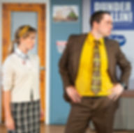 Katie Johantgen as Angela and Michael Santora as Dwight in The Office! - A Musical Parody