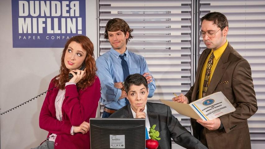 Pam, Michael, Jim, and Dwight