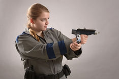 Press photo of Molly Horth as Officer 3 of 5 in Space Pirates of Planet Penzance at Oswego State Theatre