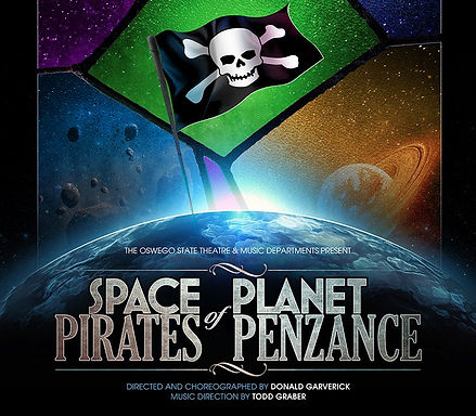 Logo for Donald Garverick's sci-fi/fantasy adaptation, Space Pirates of Planet Penzance by Gilbert and Sullivan at Oswego State Theatre
