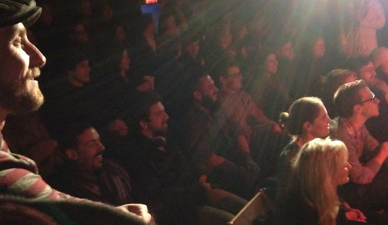 Resident judge Donald Garverick and a sold out crowd at The Cabaret Showdown at The Kraine Theatre
