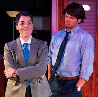 Sarah Mackenzie Baron as Michael Scott and Tom McGovern as Jim perform That's What She Said from The Office! - A Musical Parody