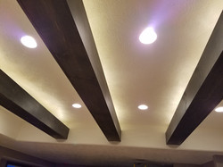 Pinewood beams with backlighting