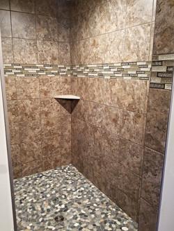 Large Tiled Shower Pebble Floor