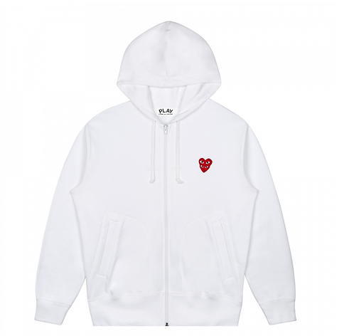 CDG PLAY DOUBLE HEART HOODIE W/ZIPPER