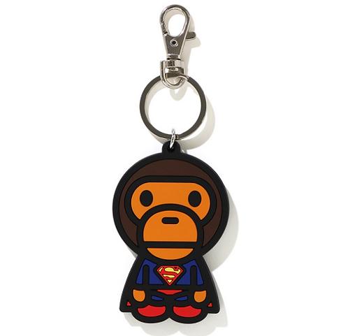 Bape X DC baby milo Superman silicon keychain