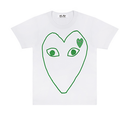 CDG PLAY GREEN HEART OUTLINE TEE