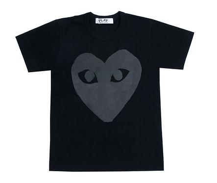 CDG PLAY HEART SS TEE (BLACK)