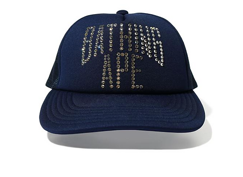 BAPE NYC LOGO CRYSTAL STONE MESH CAP