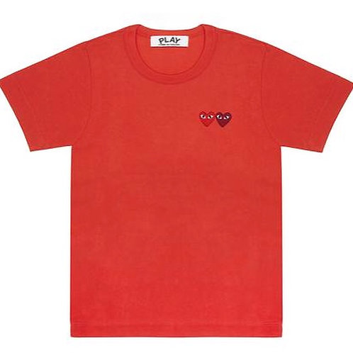 CDG PLAY DOUBLE HEART RED TEE