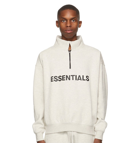 Essentials Off White Mock Neck Half Zip Sweatshirt