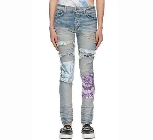 AMIRI Blue Tie-Dye Art Patch Jeans