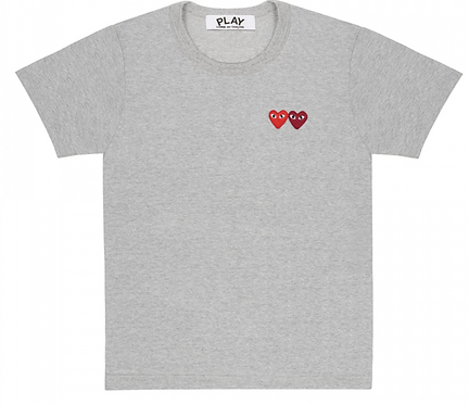 CDG PLAY DOUBLE HEART T-SHIRT