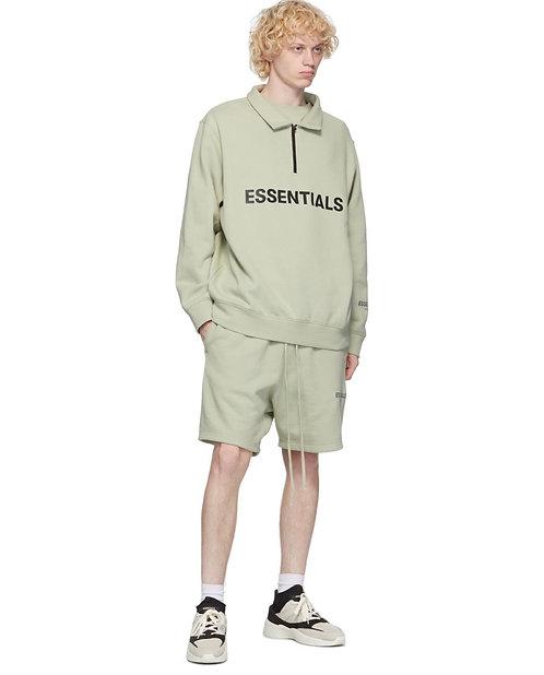 Essentials Off White Mock Neck Half Zip Sweatshirt